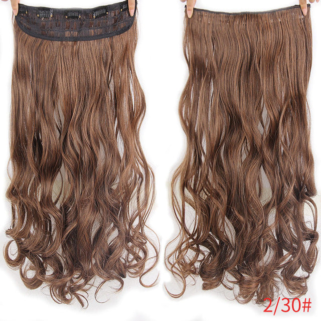 "22"" 17 Colors Long Wavy High Temperature Fiber Synthetic Clip in Hair Extensions for Women - Style Lavish"