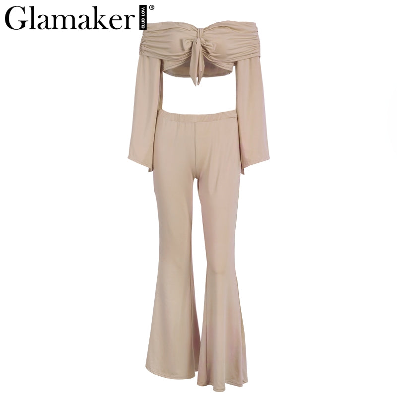 bf17d53f094c ... Women Two Pieces Flare Sleeve Jumpsuit Romper Women Off shoulder Bow  Overalls Autumn Crop Long Playsuit ...