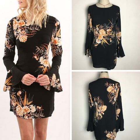 Women Summer Fashion Casual Bandage Bodycon Flare Long Sleeve Dress