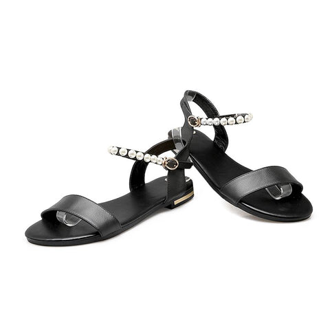 Genuine Leather Shoes Woman Flat Buckle Strap Women Sandals Summer Beach Shoes