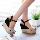 Summer Buckle Women's Sandals Velvet Flock Fish Mouth Fashion high Heel Platform Open Toes Shoes