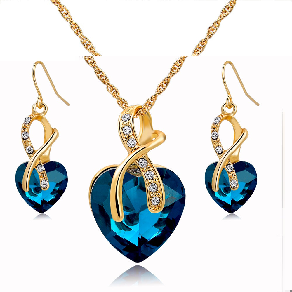 African Beads Nigerian Crystal Wedding Jewelry Set for Women Gold color Chain Necklaces Earrings With Heart Stones - Style Lavish