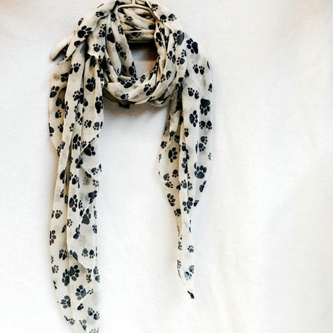 Fashion Cute Dog Paw Scarf Women Dog Footsteps Printed Shawl Hijabs For Dog Lovers Spring Winter Soft Wrap - Style Lavish