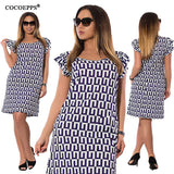 Summer Chiffon Ruffles Dresses Fashion Geometric Print Women Casual Dress