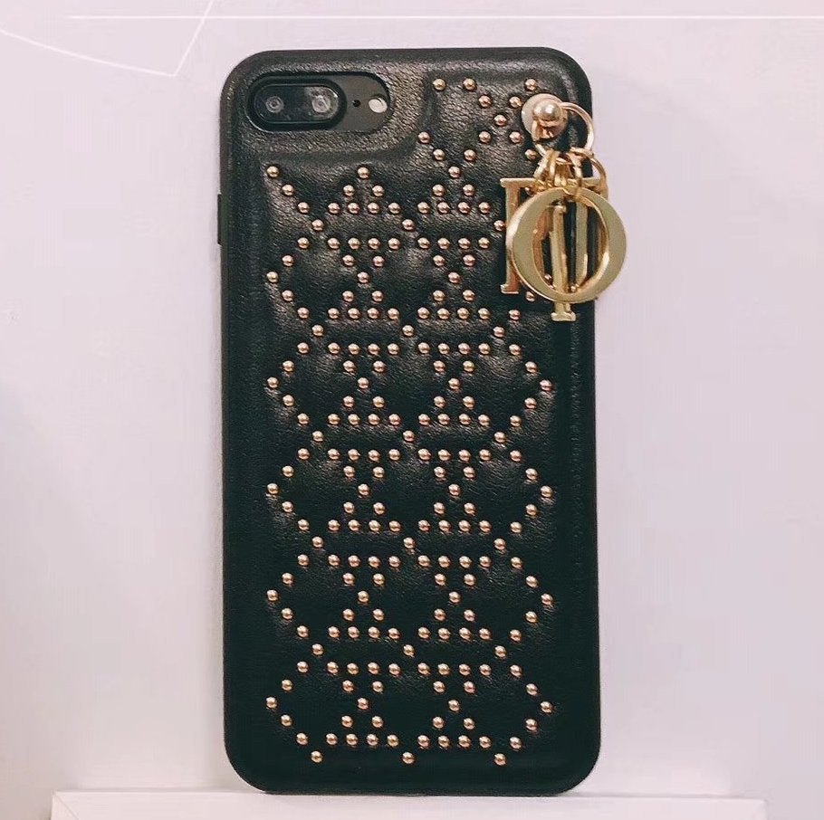 For iPhone 6 6s plus Luxury Fashion Rivet D cell Phone Cases For Apple iPhone 7 8 plus X Women Mobile phone Case Cover