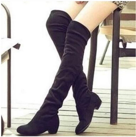 Women Fashion Stretchy Over-the-Knee Flat Long Winter Boots Suede Solid Shoes Plush Woman Boots