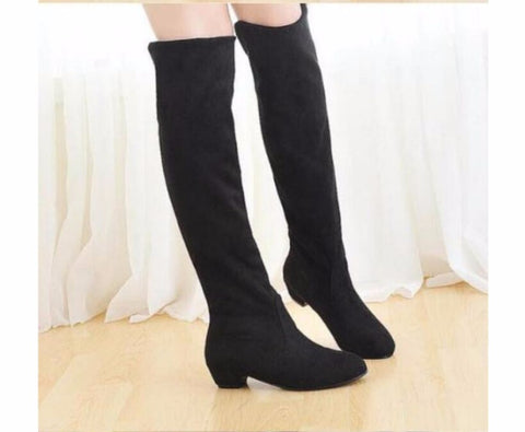 Fashion Womens Stretchy Over-the-Knee Flat Long Winter Boots Suede Solid Women Shoes Plush Woman Boots - Style Lavish