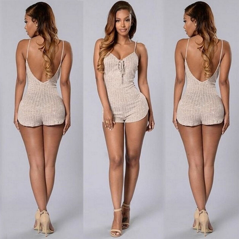 Fashion Sleeveless V Neck Backless Summer Women Bodycon Jumpsuit Romper Trousers - Style Lavish