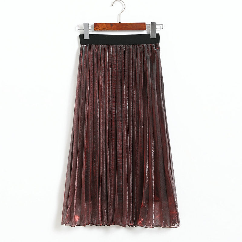 Women Metallic Silver Skirt Midi Skirt High Waist Metallic Pleated Skirt