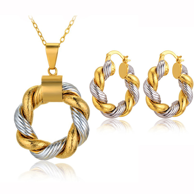 Vintage Jewelry Sets For Women Two Tone Gold Color Unique Earrings Necklace Set Wedding Jewellery Sets