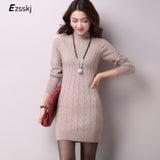 Casual Winter Dress Turtleneck Knitted Cashmer Thick Sweater Dress Warm Women Cotton Straight Dress Pullover Autumn