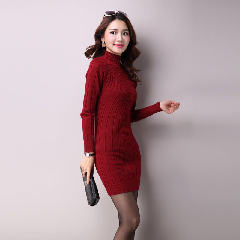 Women Casual Autumn Winter Dress Turtleneck Knitted Cashmer Thick Sweater Dress Warm Cotton Straight Dress Pullover