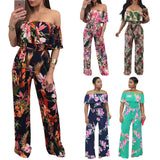 Women Rompers Off Shoulder Short Sleeve Jumpsuit Romper