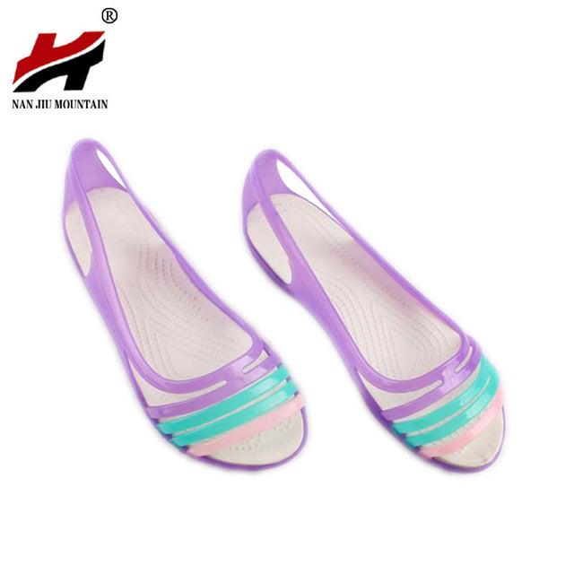 Rainbow Jelly Shoes Women Flats Sandalias Woman Sandals Summer New Candy Color Peep Toe Stappy Beach Valentine Mujer Slippers