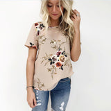Women Summer Blouse Floral Short Sleeve Chiffon Loose Casual Tops Round Neck
