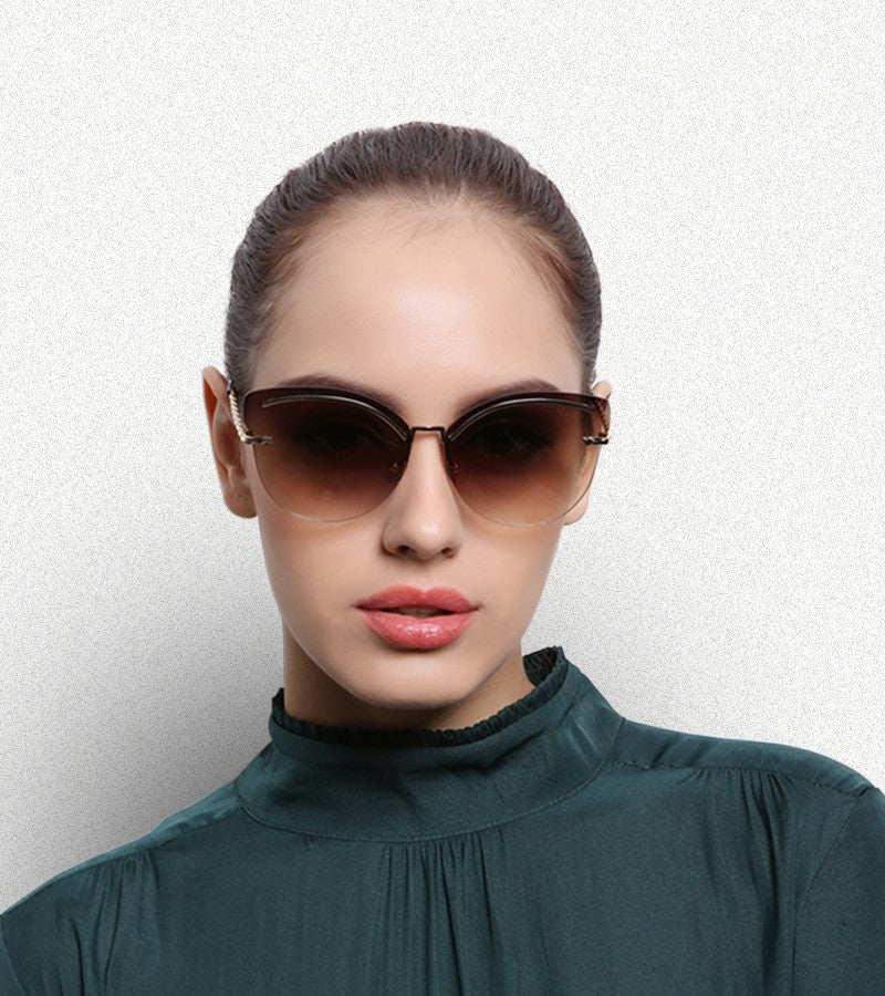 Rimless Sunglasses Women Pink Mirror Reflective Sun Glasses Alloy Legs Elegant Style Glasses Original Design