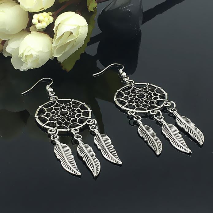 1 Pair Fashion Women Lady Dreamcatcher Ear Stud Gold Earrings - Style Lavish