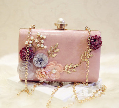 Women Handbag Wedding Bag Fashion Pearl Rhinestone Banquet Evening Bag Day Clutch One Shoulder Bags Chain Mini Bag