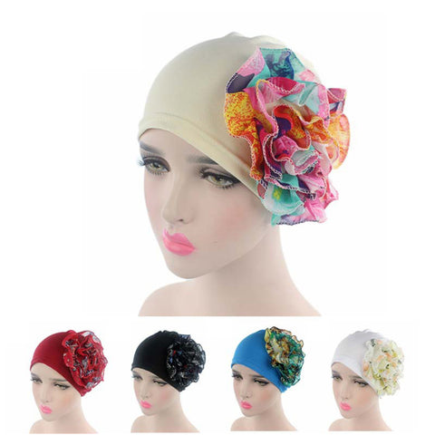 Sweet Elastic Cancer Chemo Hat Chiffon Flowers Head Cap Turban for Women Headbands Headwrap Hair Accessories