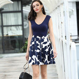 Women Summer Dress Printing Stitching Explosion Sexy V-neck Sleeveless Big Swing women's Fashion Dresses