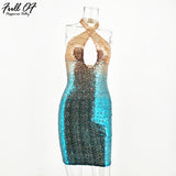 Sexy Chic Summer Gold Red Sequins Dress Backless Sleeveless Bodycon Muliti Color Cross Halter Party Dresses