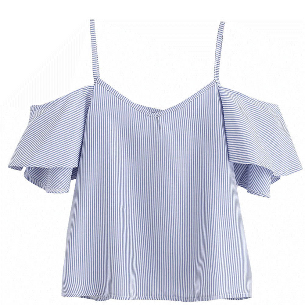 ce424ffc4b3b1c Women Casual Blouses Shirts Tops Ladies Blue Pinstripe Cute Ruffle Slip  Short Sleeve Cold Shoulder Fashion ...