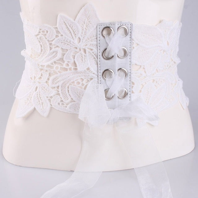 Korean Lace Floral Corset Belt For Girls Ultra Hollow Wide Women'S Belt Embroidery Black Lace Decorative Dress Waist Belt