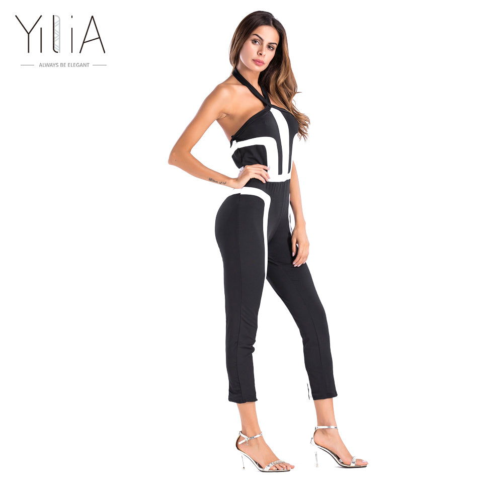 Women Summer Rompers Jumpsuit Off Shoulder Sleeveless Overalls Fitness Halter Workout Bodysuit Playsuit Catsuit