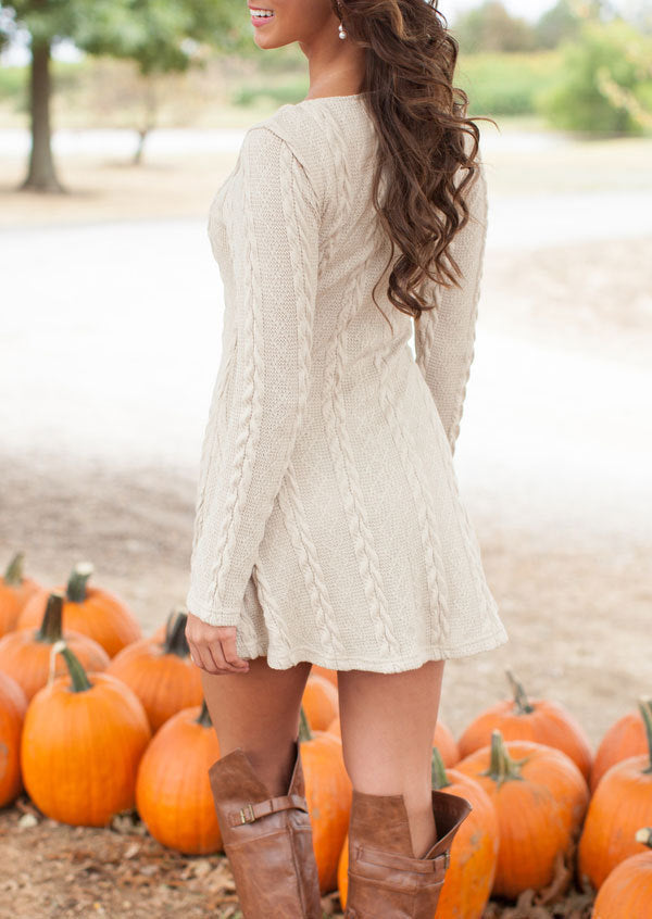 Women Causal Short Sweater Dress Autumn Winter White Long Sleeve Loose knitted Sweaters Dresses