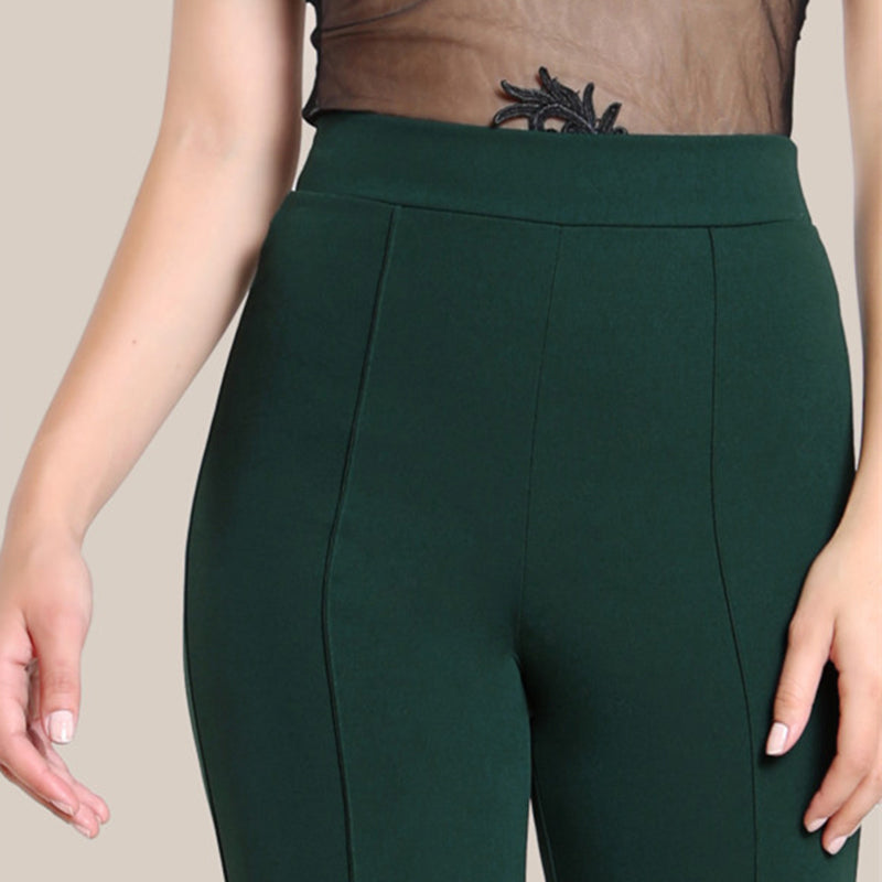 High Rise Piped Dress Pants Army Green Elegant Pants Women High Waist Zipper Fly Boot Cut Trousers