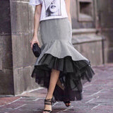 Women  Autumn Plaid Tulle Skirt High Waist Asymmetrical Midi Long Skirt Patchwork Ruffle Mesh Mermaid Bottoms Autumn
