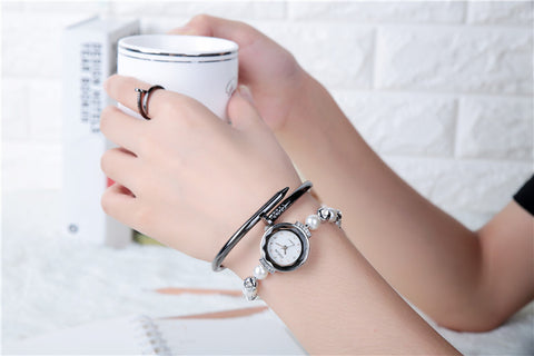Rose Gold Pearl Bracelet Watches Women Ladies Fashion Rhinestone Dress Quartz Wristwatch