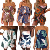 Beach Casual Bohemia Printed  Floral Geometric Women Jumpsuit Short Trousers - Style Lavish