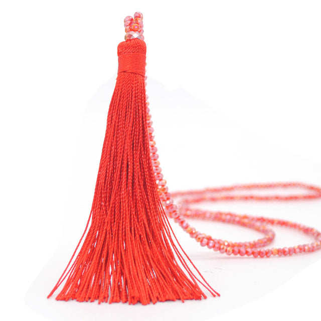 Tassel Necklace 10 Colors Choice Silk Tassel Glass  Beads Crystal Necklaces 90cm Long Necklace Women Jewelry