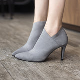 Women Pointed Toe High Heels  Shoes Basic Boots Autumn Winter Casual Fitted  Single Fashion Outwear Shoe