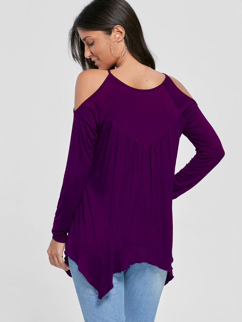Autumn Women New Fashion Blouse Casual Round Neck Cold Shoulder Handkerchief Top Solid Color Trendy Blouse - Style Lavish