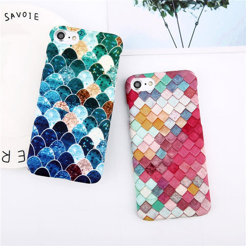Phone Case For iPhone 8 7 6 6s Plus Fashion Cartoon Leaf Pineapple Colorful Geometry Hard Back Cover Case For iPhone 8