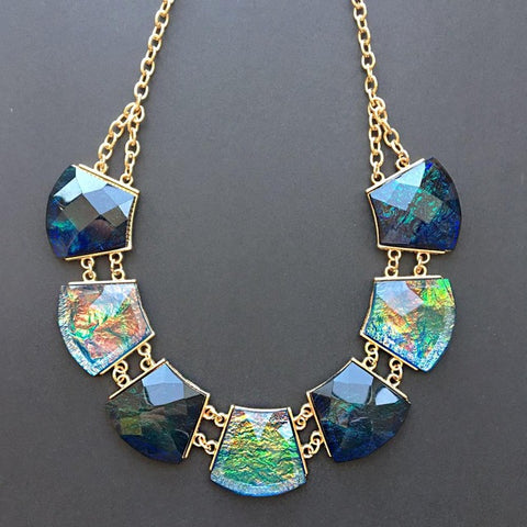 Women Blue Crystal Short Chain Statement Necklace Chokers Style Fashion Jewelry Charm Pendant Wedding Necklaces