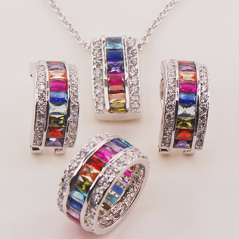 Morganite Blue Light Blue Purple Red Crystal Zircon Garnet 925 Silver Jewelry Set Pendant Earrings Ring size 6 to 12