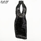 Women Summer Sequins Dress Vintage Black Off Shoulder Mini Backless Mesh Bodycon Party Dresses