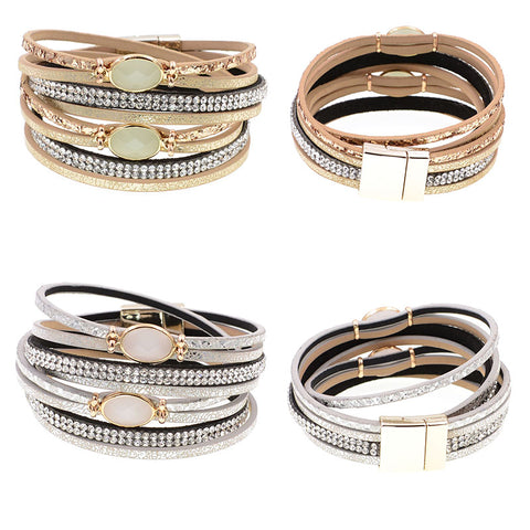 Women Glass Leather Bracelet Wrap Bracelets For Women Trendy Bohemian Bracelets