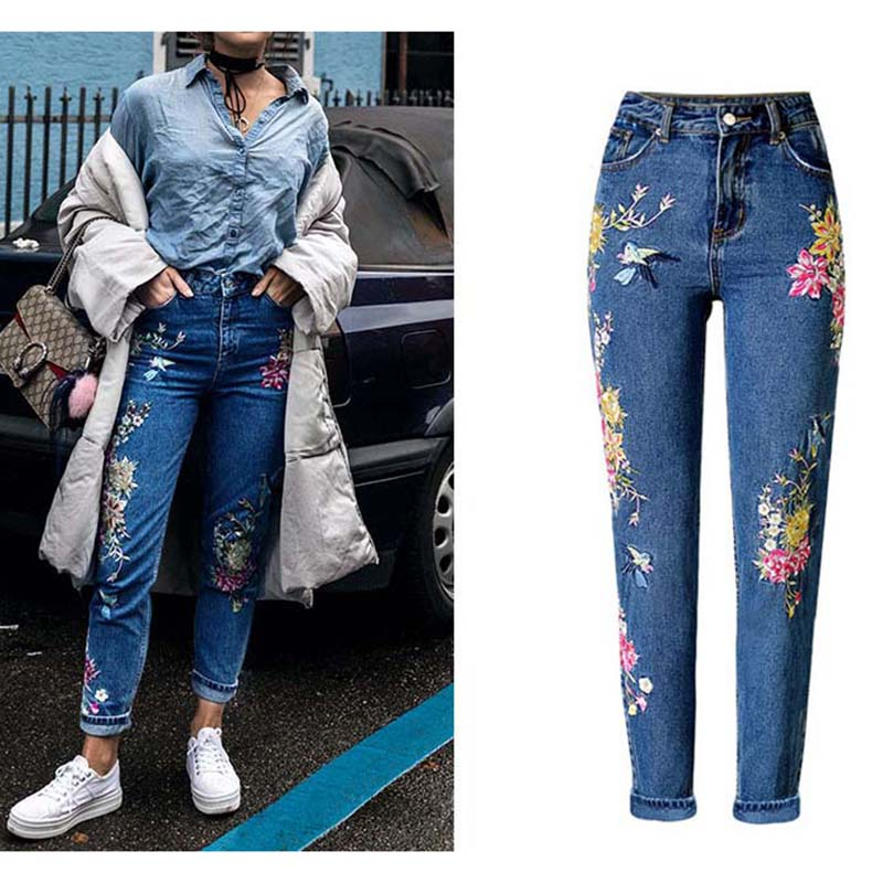 Fashion Clothes Women Denim Pants Straight Long Jeans Pants 3D Flowers Embroidery High Waist Jeans Legging Trousers - Style Lavish
