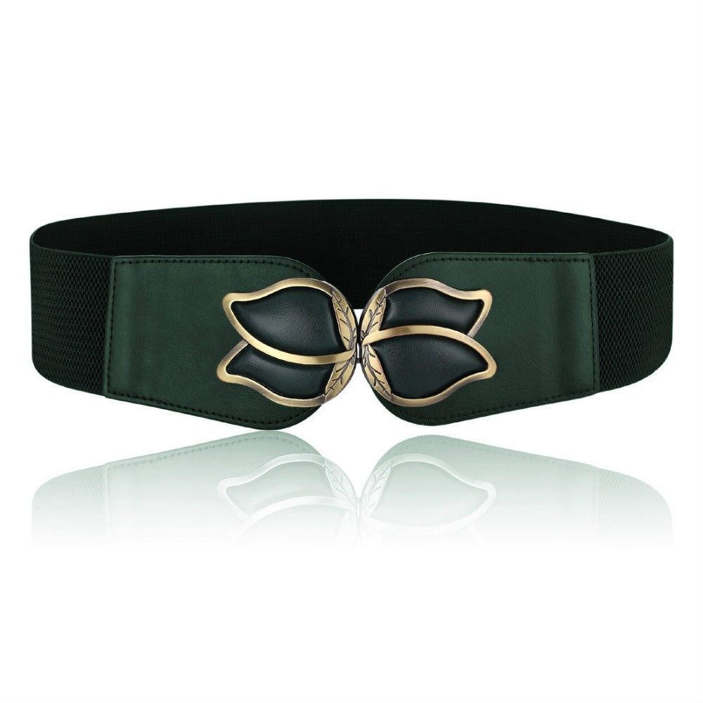 Fashion Wide Elastic Stretch Cinch Women's Webbing Belts Metal floral Interlock Buckle Waist Belts - Style Lavish