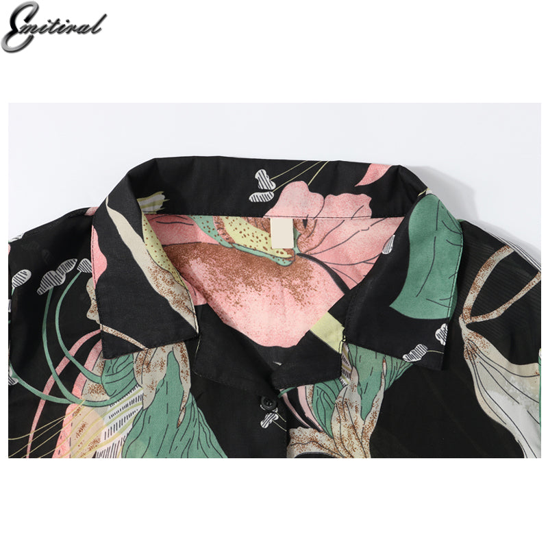 Autumn Women Blouses Long Sleeves Fashion Floral Print Female Shirts European Casual Loose Ladies Tops - Style Lavish