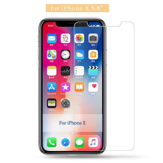 9H tempered glass For iphone X 8 4s 5 5s 5c SE 6 6s plus 7 plus screen protector protective guard film case cover+clean kits - Style Lavish