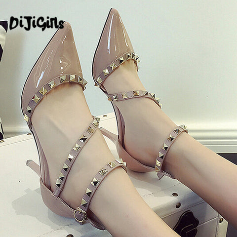 Woman High Heels Shoes Pointed Toe pumps Buckle Rivets Nude Heels Dress Wedding Shoes