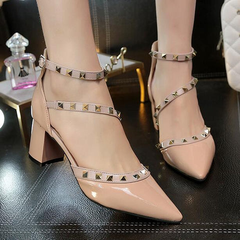 Woman High Heels Shoes Pointed Toe Pumps Buckle Rivets Heels Shoes