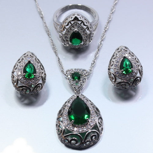 Water Drop 4PCS Jewelry Set 925 Sterling Silver Green Zircon Earrings Ring Necklace Pendant Bracelet For Women