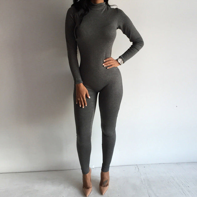 Women Clothes Zipper Bodysuits Long Sleeve Bodycon Jumpsuit Trousers Bodysuit