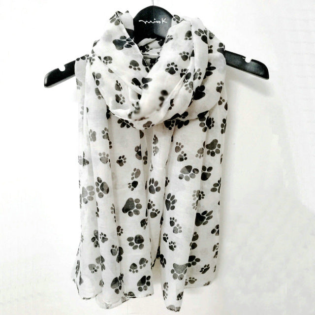 Black Dog Paw Scarf For Dog Lovers Women Animal Dog Footprint Shawls Hihab Spring Winter Soft Wrap Scarves - Style Lavish